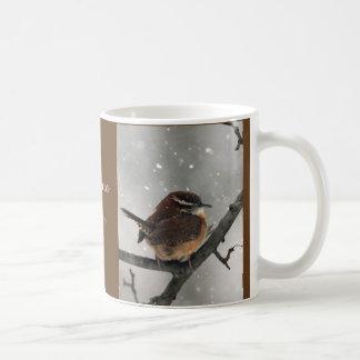 Taza de los pájaros del invierno:  Wren de