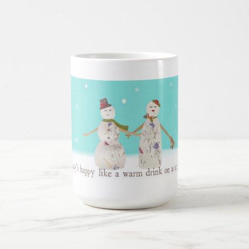 Taza de los pares del muñeco de nieve
