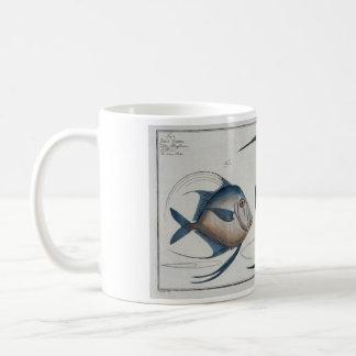 Taza de los pescados de plata del vintage