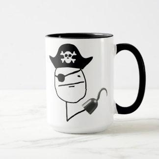 Taza de Meme de la cara de póker del pirata