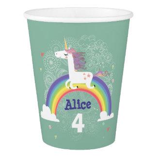 Taza de papel del cumpleaños del unicornio del vaso de papel