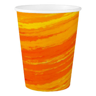Taza de papel: Diseño anaranjado rayado Vaso De Papel