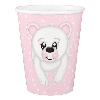 Taza de papel rosada del oso polar vaso de papel