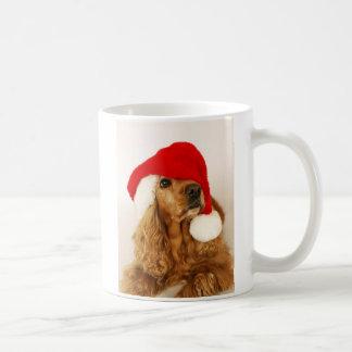 Taza de Santa del navidad de cocker spaniel
