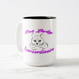 Taza de señora Extraordinaire 15oz del gato
