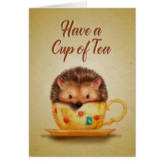 Taza de tarjeta de felicitación del té