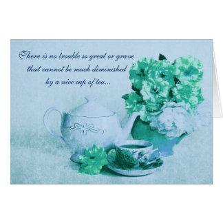 taza de tarjeta del té con una cita