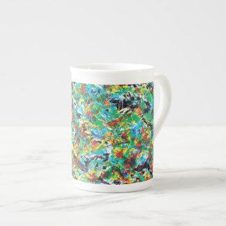 Taza De Té Arte colorido del estampado de plores de la