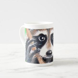 Taza De Té Arte lindo de la acuarela del mapache