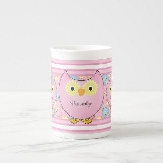 Taza De Té Búho del rosa en colores pastel