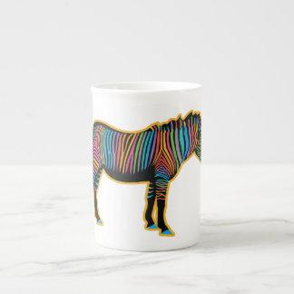 Taza De Té Cebra colorida del arco iris