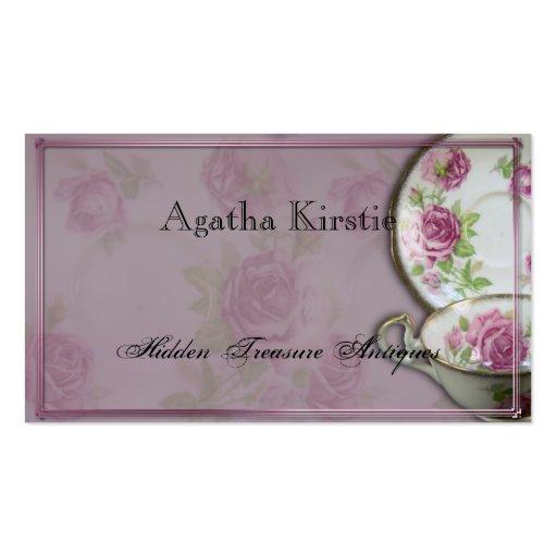 Taza de té color de rosa rosada antigua en tarjeta tarjetas de visita