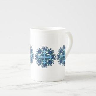 Taza De Té Cruz floral en azules