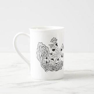 Taza de té de la porcelana de hueso de la flor de