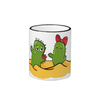 taza de té del amor de la flor del cactus