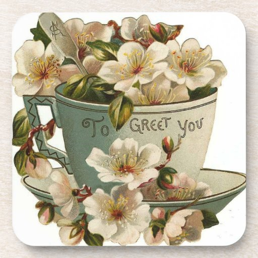 Taza de té del vintage floral saludar al práctico  posavasos de bebida