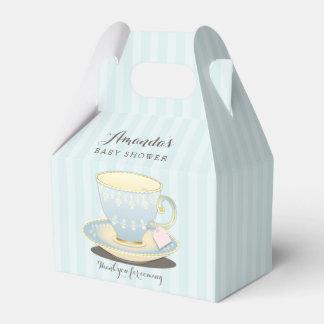 Taza de té elegante en caja azul del favor del