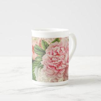 Taza De Té Estampado de flores retro de la primavera de la