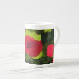 Taza De Té Floral ingenioso pintada de las amapolas el  