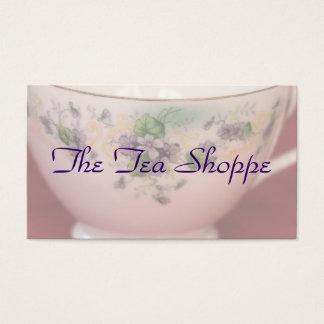 Taza de té floral púrpura personalizada tarjeta de negocios