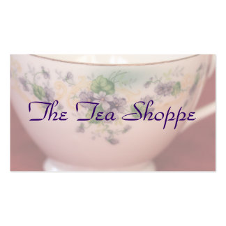 Taza de té floral púrpura personalizada plantillas de tarjetas personales