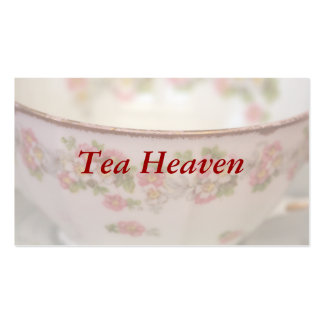 Taza de té floral rosada tarjetas de visita