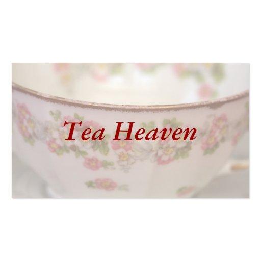 Taza de té floral rosada plantilla de tarjeta de negocio