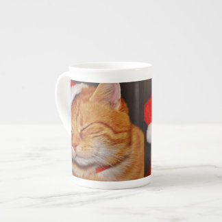Taza De Té Gato anaranjado - gato de Papá Noel - Felices
