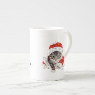 Taza De Té gato de Papá Noel - collage del gato - gatito -