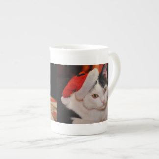 Taza De Té Gato de Papá Noel - Felices Navidad - acaricie el