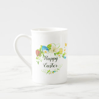 Taza De Té Guirnalda de las flores y de las mariposas de la
