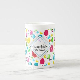 Taza De Té Huevos de Pascua coloridos, conejitos, monograma