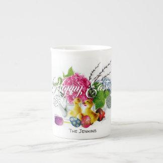 Taza De Té Huevos de Pascua de la acuarela, anadones y flores