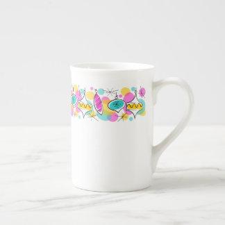 Taza De Té Línea retra porcelana de hueso de las chucherías