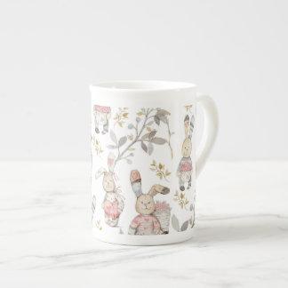 Taza De Té Modelo lindo de la acuarela de los conejitos de
