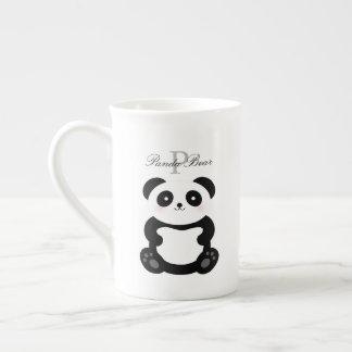 Taza De Té Monograma femenino lindo del oso de panda del bebé