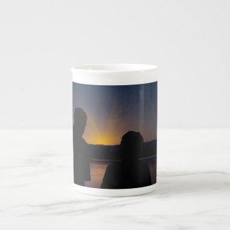 Taza De Té Pares en la puesta del sol, en porcelana de hueso