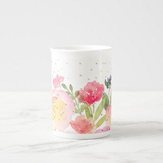 Taza De Té PixDezines floral/ramo de la acuarela/de la