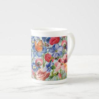 Taza De Té Prado de la flor - acuarela floral del vintage