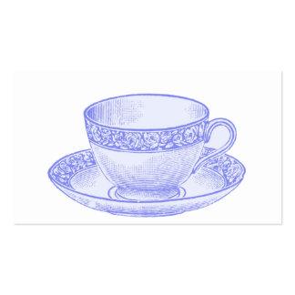 Taza de té púrpura plantillas de tarjetas personales