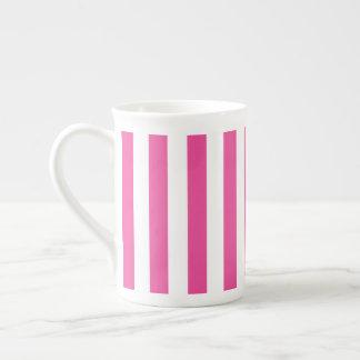 Taza De Té Rayas verticales rosadas