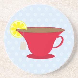 Taza de té roja/fondo azul posavasos manualidades
