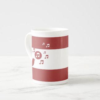 Taza De Té Rojo y blanco elegantes del pájaro cantante