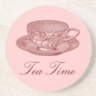 Taza de té subió vintage posavasos para bebidas