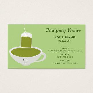Taza de té verde sonriente tarjeta de negocios