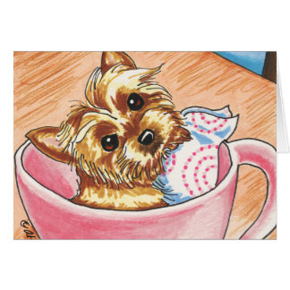 Taza de té Yorkie por arte del Apagado-Correo Tarjeta