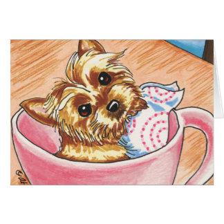 Taza de té Yorkie por arte del Apagado-Correo Tarjeta Pequeña