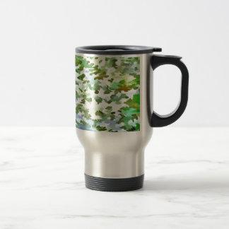 Taza De Viaje Arte pop abstracto del follaje en el verde blanco