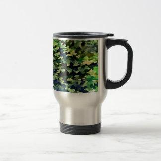 Taza De Viaje Arte pop abstracto del follaje en verde y azul