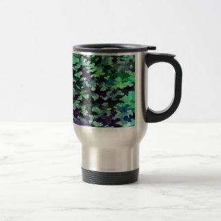 Taza De Viaje Arte pop abstracto del follaje en verde y púrpura